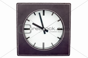 Clock in leather frame