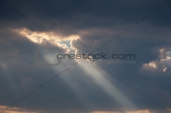 Dramatic Sky with Rays of Light
