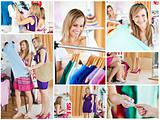Collage of two beautiful women doing shopping