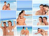Collage of lovely couples having fun on a beach