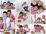 Collage of a family enjoying moments together