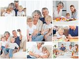 Collage of a family enjoying different moments together at home