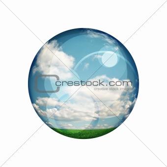green blue clear ball