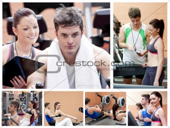 Collage of a couple doing exercises at a gym