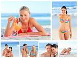 Collage of lovely couples and attractive women on a beach