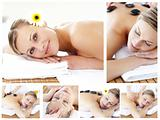 Collage of an attractive young girl being massaged
