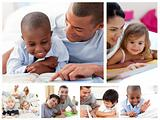 Collage of parents educating children at home
