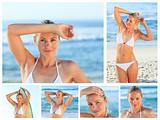 Collage of a beautiful blonde woman posing on a beach