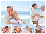 Collage of an elderly couple enjoying moments on a beach