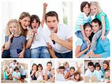 Collage of a family sharing moments together at home