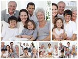 Collage of a whole family enjoying sharing moments together at h