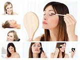 Collage of beautiful women putting make-up on