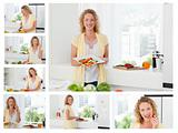 Collage of a beautiful woman cooking and eating some vegetables 