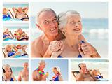Collage of an elderly couple spending time together on a beach