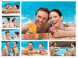Collage of a lovely couple drinking cocktails in a swimming pool