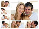 Collage of a middle-aged couple enjoying the moment