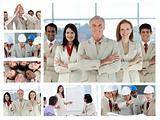 Collage of business people posing and enjoying working at the of