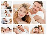 Collage of a lovely couple relaxing