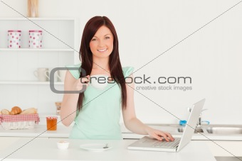 Charming red-haired female relaxing with her laptop in the kitch