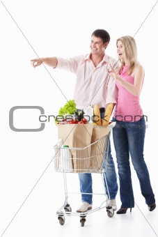 The happy couple with shopping