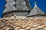 tile roof of old cathedral 