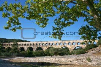 view on Pont du Gard