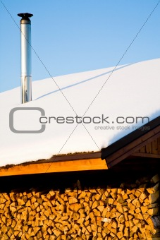 housetop in winter