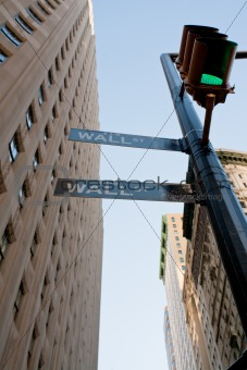 crossing of Wall St and Broadway in NY