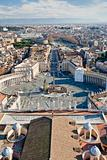 view on St.Peter Square from roof of St.Peter Basilica