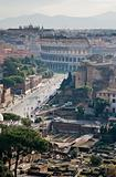 view on ruins and Coliseum