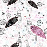 texture with decorative birds