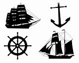 silhouettes of sailboats,  anchors  and steering wheel