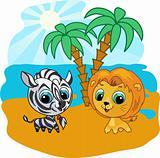 Cute lion and zebra vector cartoon  illustration