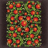 abstract grunge floral ornament with red flowers