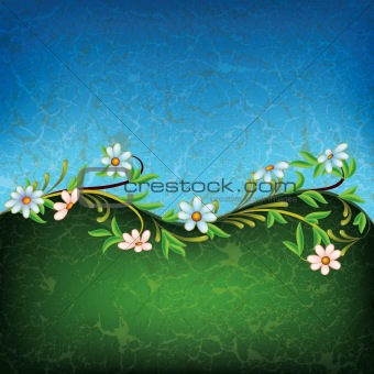 abstract grunge floral ornament with white flowers