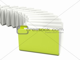 Green folder in a row isolated on white