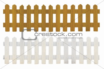 old white fence and brown fence isolated on white background