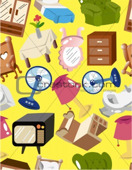 cartoon home furniture seamless pattern