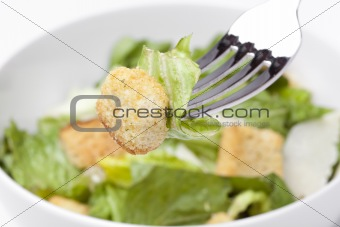 A green salad with croutons and cheese