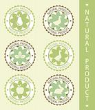 6 labels: natural product, vector illustration