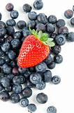 Blueberries and strawberries on a white background
