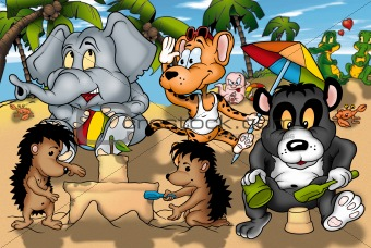 Animals on the Beach