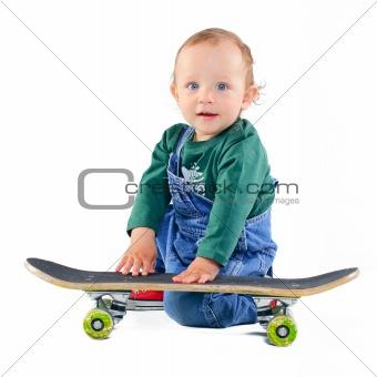 Little boy on a skateboard