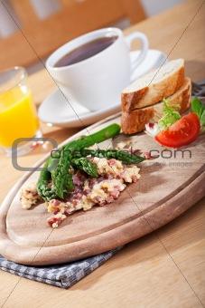 green asparagus and scrambled eggs