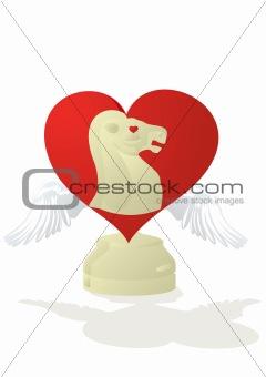 Amorous chess - white horse