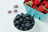 Ripe Blueberries and  Strawberries