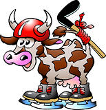 Cow Playing Hockey Sport