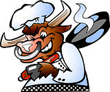 Bull Chef holding a Pan over his shoulder