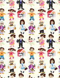 cartoon family seamless pattern