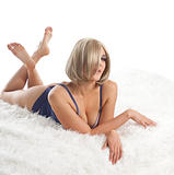 Beauty desired  woman lay on fur in lingerie